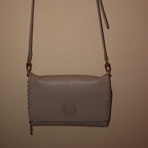 Tory Burch gray crossbody purse